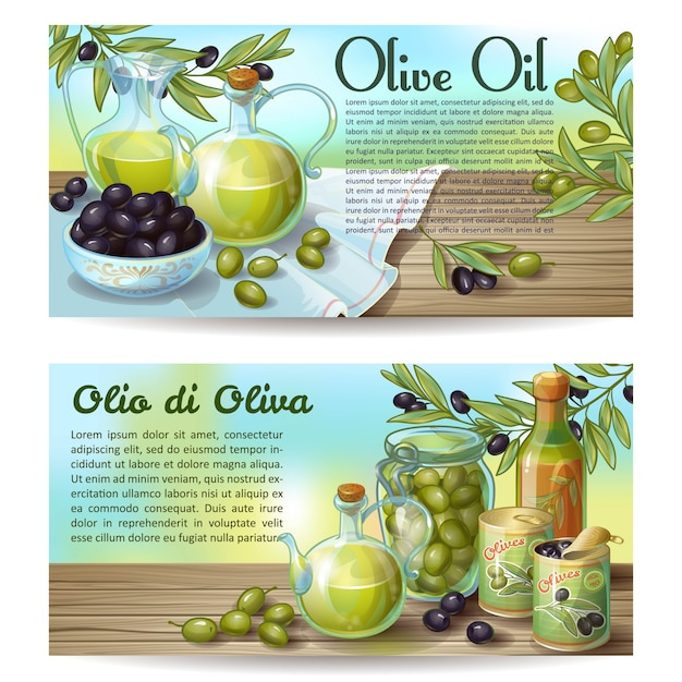 Horizontale konzepte für olivenöl Kostenlosen Vektoren