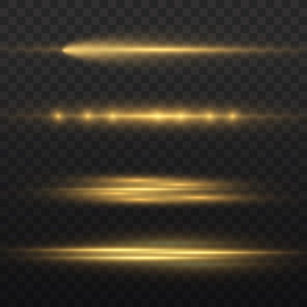 Horizontale lichtstrahlen, blitzgelb horizontale linseneffektpackung, laserstrahlen, leuchtend gelbe linie, schöne lichtfackel, hellgoldene blendung, vektorillustration Premium Vektoren