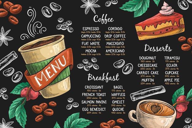 Horizontale menüvorlage mit kaffee und dessert Kostenlosen Vektoren