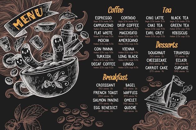 Horizontale menüvorlage mit kaffee Kostenlosen Vektoren