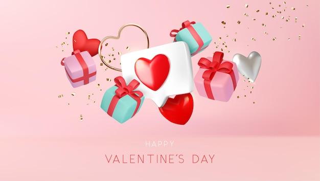 Horizontale schwebende liebesobjektzusammensetzung des valentinstags auf rosa hintergrundillustration Premium Vektoren