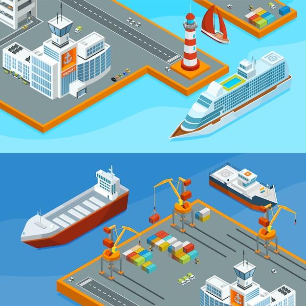 Horizontale vektorfahnen mit seeschiffen im hafen. geschäftsseetransportabbildung Premium Vektoren