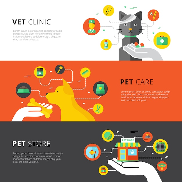 Horizontale veterinärfahnen stellten mit tierarztklinikhaustierpflege und haustierspeicher flach ein Kostenlosen Vektoren