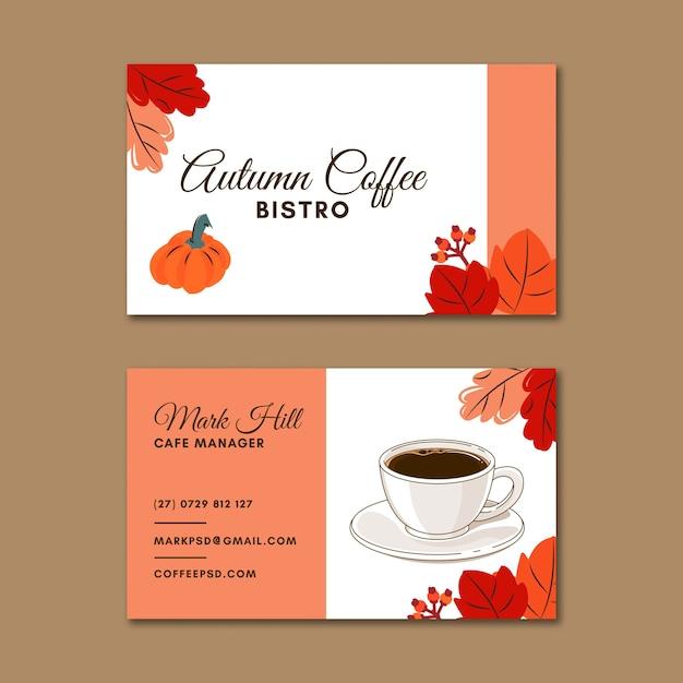 Horizontale visitenkarte des coffeeshops Premium Vektoren