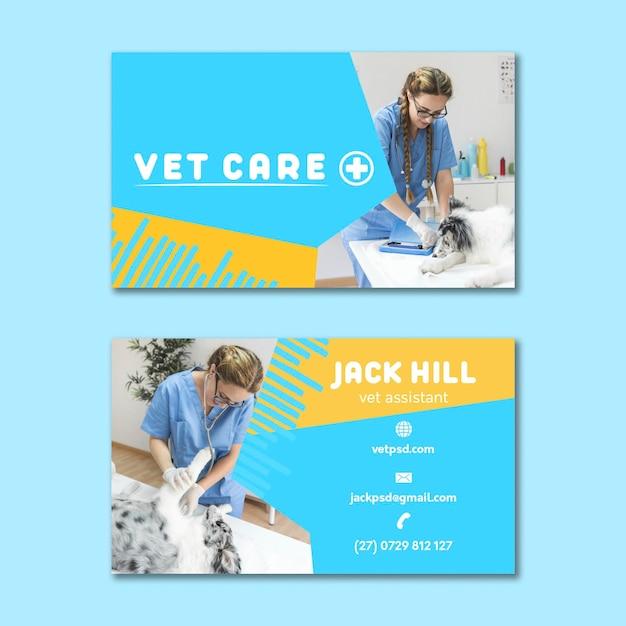 Horizontale visitenkarte des veterinärs Premium Vektoren
