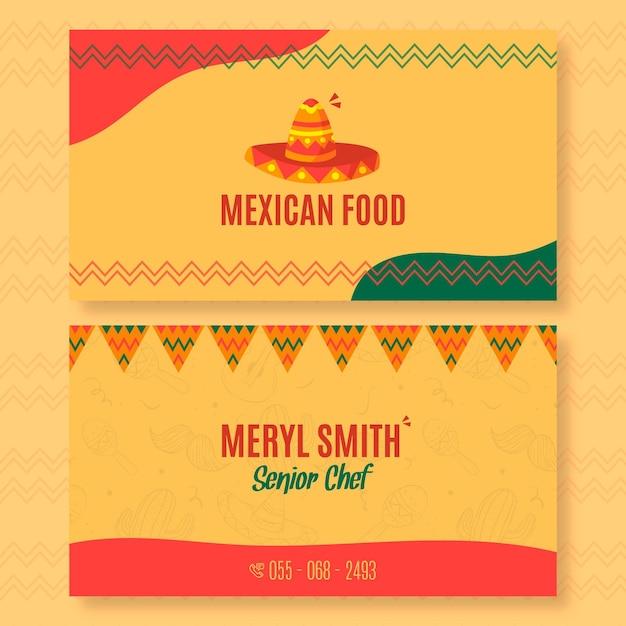 Horizontale visitenkartenschablone für mexikanisches lebensmittelrestaurant Premium Vektoren