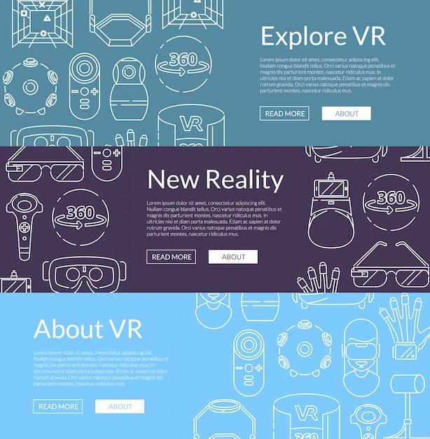 Horizontale web-banner mit elementen der virtuellen realität Premium Vektoren