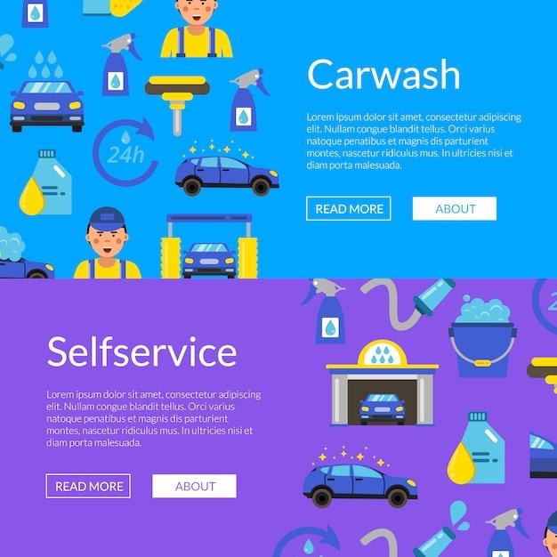 Horizontale web-banner mit farbigen autowaschanlage flache symbole festgelegt Premium Vektoren
