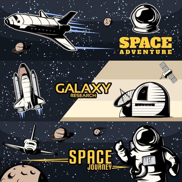 Horizontale weltraumbanner mit wissenschaftlicher ausrüstung für die galaxienforschung, kosmische shuttles für isolierte reisen Kostenlosen Vektoren