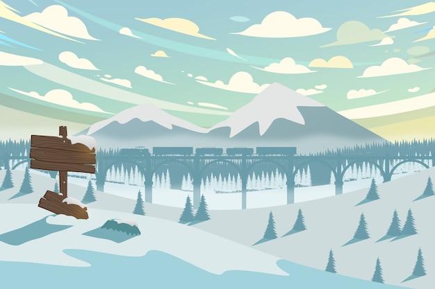 Horizontale winterlandschaft mit berg, zug und wald Premium Vektoren
