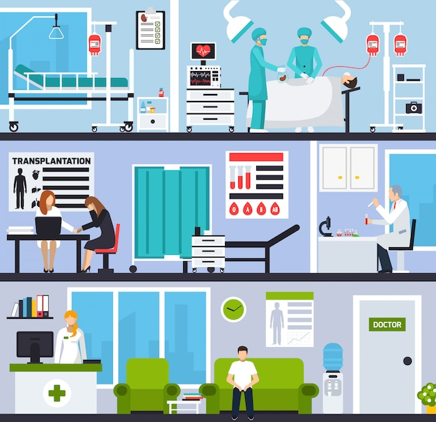 Horizontale zusammensetzungen für die transplantation Kostenlosen Vektoren