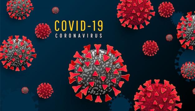 Horizontaler hintergrund der coronavirus-pandemie mit infizierten 19 zellen oder bakterien auf einem dunkelblauen hintergrund. covid-19, gefährliches virus Premium Vektoren