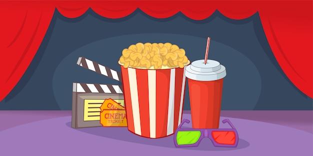 Horizontaler hintergrund des kinofilms, karikaturart Premium Vektoren