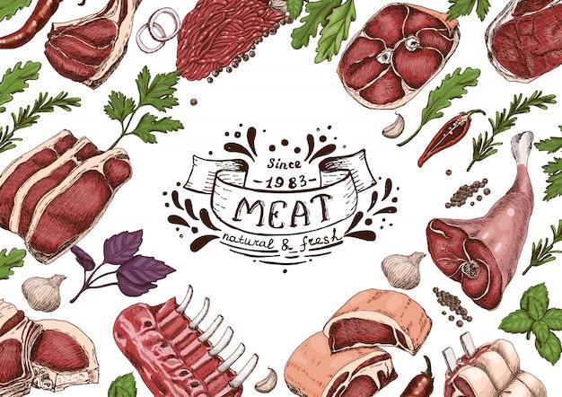 Horizontaler hintergrund mit fleisch Premium Vektoren