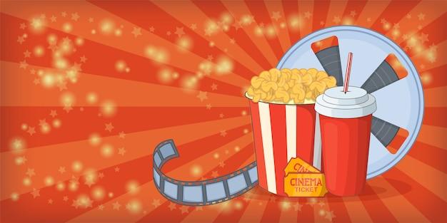 Horizontaler hintergrundmais des kinofilms, karikaturart Premium Vektoren
