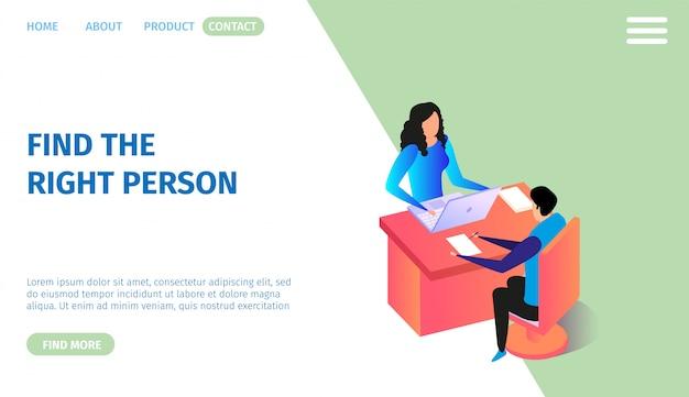 Horizontales banner der personalforschung, textfreiraum. Premium Vektoren