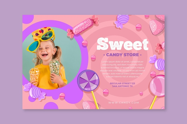 Horizontales banner der süßigkeit mit kind Kostenlosen Vektoren