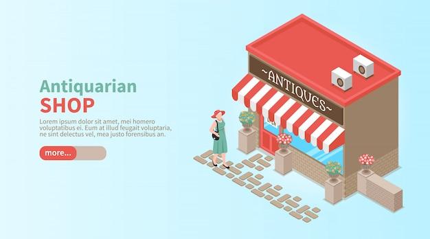 Horizontales banner des antiquariatsgeschäfts mit eleganter frau, die kommt, um schaufenster isometrisch zu machen Kostenlosen Vektoren