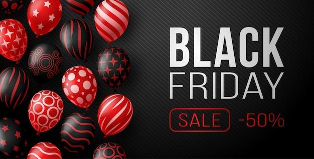 Horizontales banner des schwarzen freitag-verkaufs mit dunklen und roten glänzenden luftballons auf schwarzem hintergrund mit platz für text. illustration. Premium Vektoren