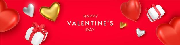Horizontales banner des valentinstags mit herz und geschenk auf rotem hintergrund Premium Vektoren