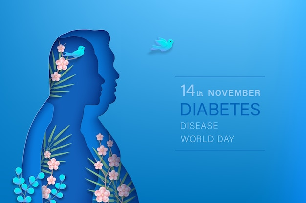 Horizontales banner des weltdiabetestages november. schlanke frau, dicker mann silhouetten papierschnitt stil Premium Vektoren
