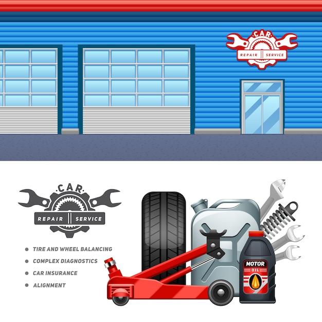 Horizontales fahnenaufbau-anzeigenplakat der autoservice-garage 2 Kostenlosen Vektoren