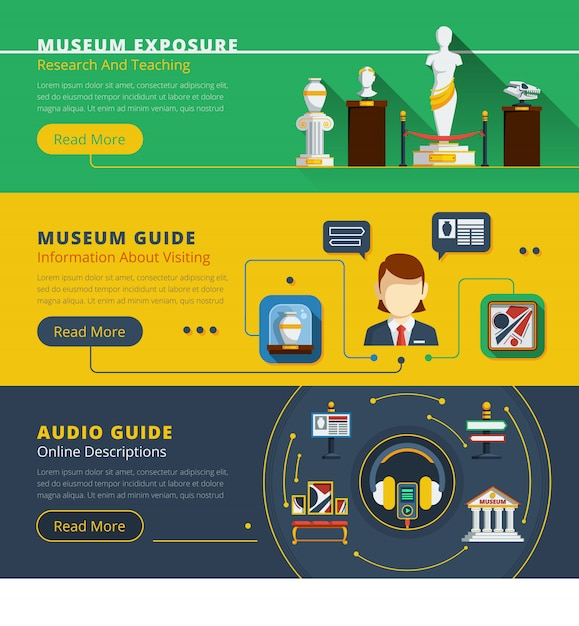 Horizontales fahnenset des museums Kostenlosen Vektoren