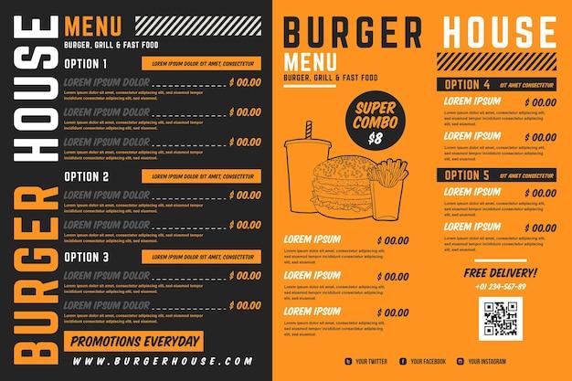 Horizontales format des digitalen restaurantmenüs Kostenlosen Vektoren
