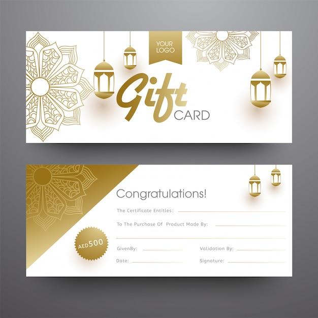 Horizontales geschenkkarten- oder fahnendesign mit hängender goldener laterne Premium Vektoren