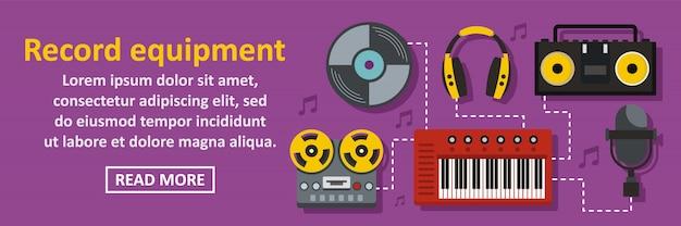 Horizontales konzept der audioaufzeichnungsausrüstungsfahnen-schablone Premium Vektoren