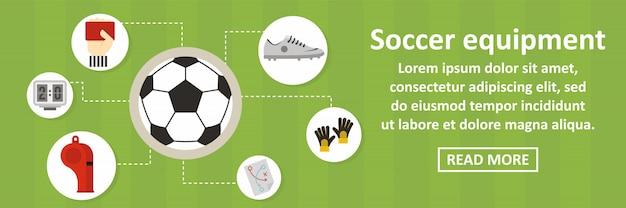 Horizontales konzept der fußballausrüstungsfahnen-schablone Premium Vektoren