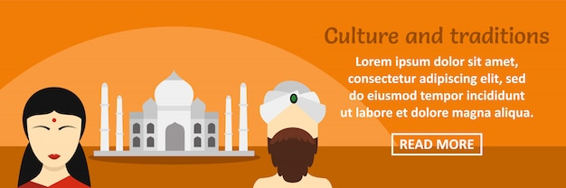 Horizontales konzept der indien-kultur- und -traditionsfahnenschablone Premium Vektoren