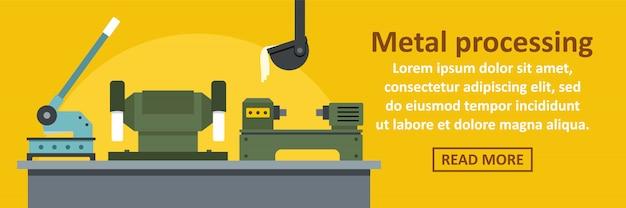 Horizontales konzept der metallverarbeitungsfabrikfahnen-schablone Premium Vektoren