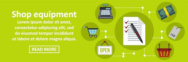 Horizontales konzept der shopausrüstungsfahnen-schablone Premium Vektoren