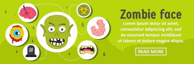 Horizontales konzept der zombiegesichtsfahnen-schablone Premium Vektoren