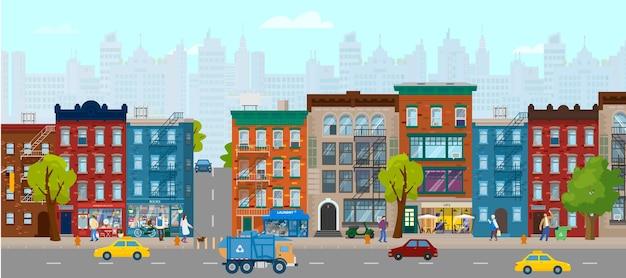 Horizontales sommerstadtpanorama mit häusern, geschäften, menschen, autos, scycraper im hintergrund. stadtstraße. flache illustration. Premium Vektoren