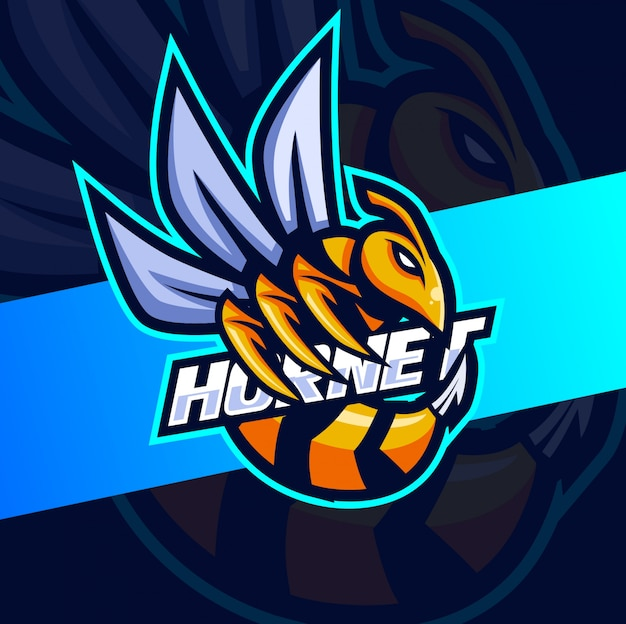 Hornet bee maskottchen esport logo design Premium Vektoren