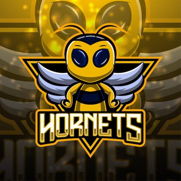 Hornets esport maskottchen logo design Premium Vektoren