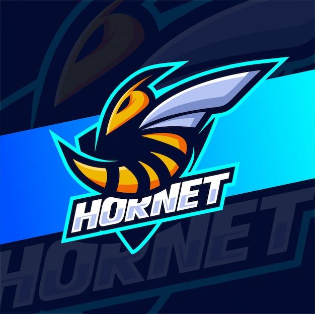 Hornissenbiene maskottchen esport logo design Premium Vektoren
