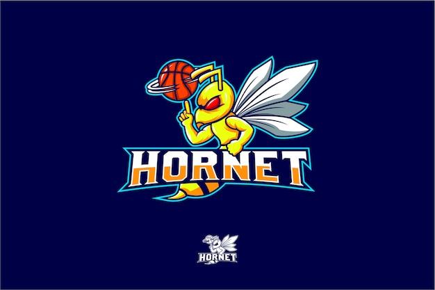 Hornissenspin-basketballvektor Premium Vektoren