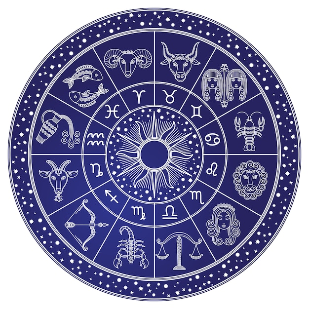 Horoskop und astrologie-kreis, tierkreis-vektor Premium Vektoren