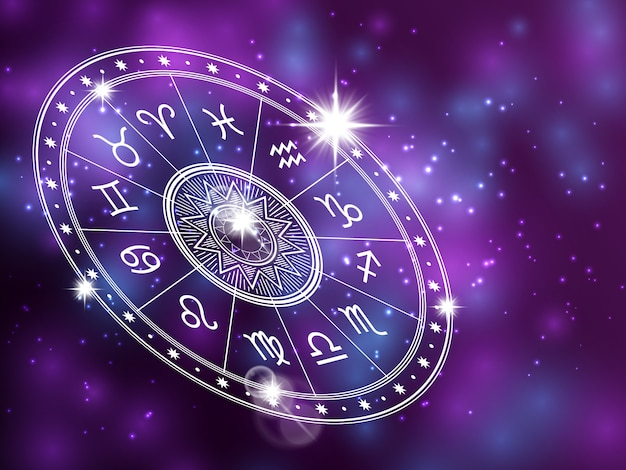 Horoskopkreis auf glänzendem backgroung - astrologiekreis Premium Vektoren