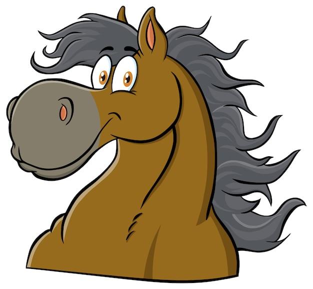Horse head cartoon maskottchen charakter. illustration isoliert auf weiß Premium Vektoren