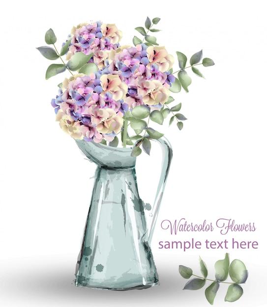 Hortensie aquarell blumenstrauß Premium Vektoren