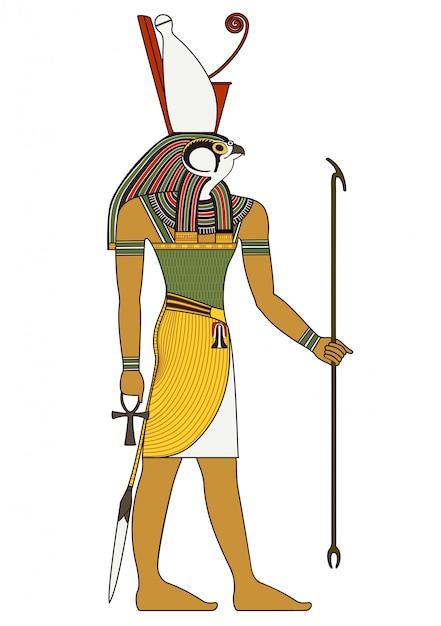 Horus, isolierte figur des alten ägyptischen gottes Premium Vektoren