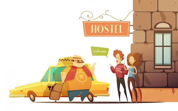 Hostel design-konzept im cartoon-stil Kostenlosen Vektoren