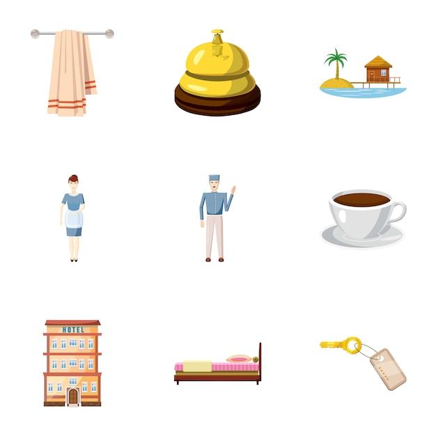 Hostel icons set, cartoon-stil Premium Vektoren