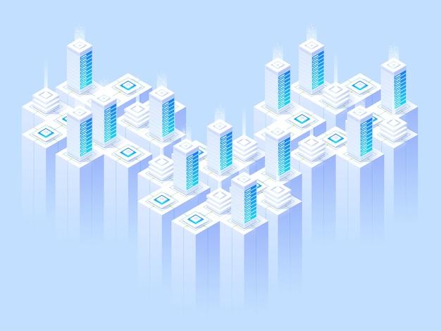 Hosting-dienste, rechenzentrum, server-serverraum, seitenvorlage zum thema informationstechnologien. isometrische darstellung Premium Vektoren