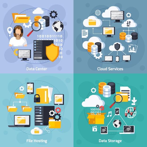 Hosting-service-konzept-ikonen eingestellt Kostenlosen Vektoren