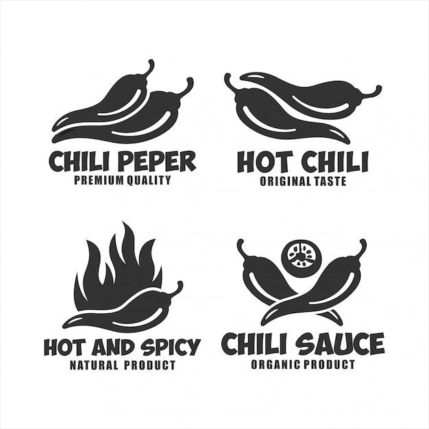 Hot chili pepper logo sammlung Premium Vektoren